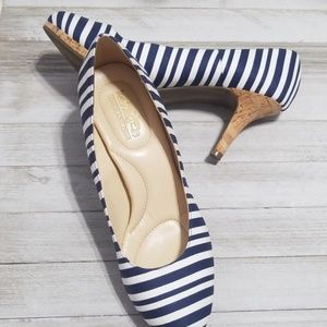Sz 8.5 Heels Nautical Stripe Cork Mini Platform
